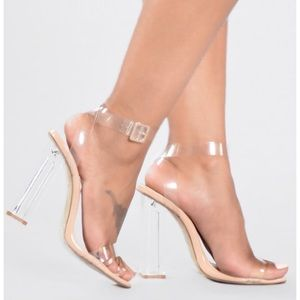 Fashion Nova Clear Block Heels in size 5.5